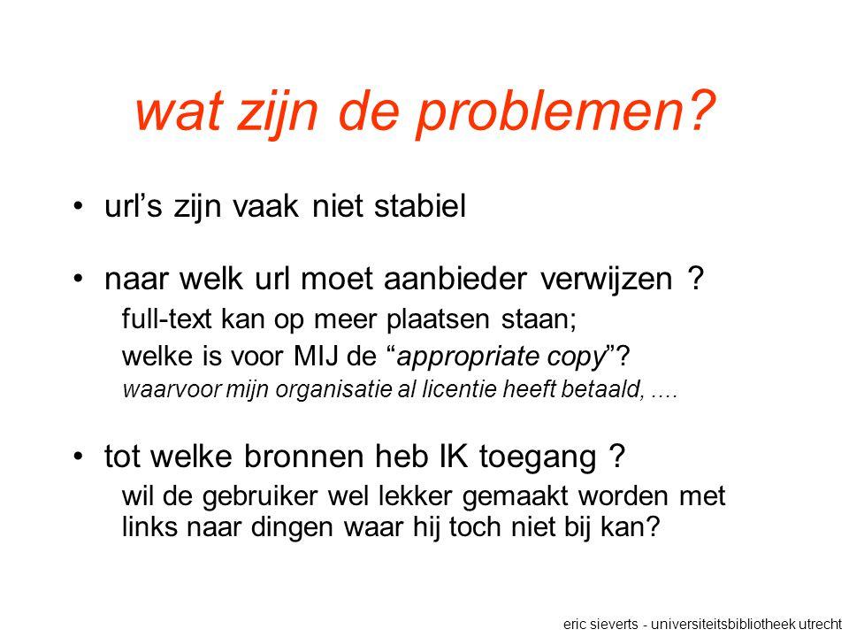 wat zijn de problemen? url's zijn vaak niet stabiel naar welk url moet aanbieder verwijzen ? full-text kan op meer plaatsen staan; welke is voor MIJ d