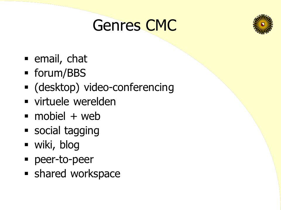 Genres CMC  email, chat  forum/BBS  (desktop) video-conferencing  virtuele werelden  mobiel + web  social tagging  wiki, blog  peer-to-peer 