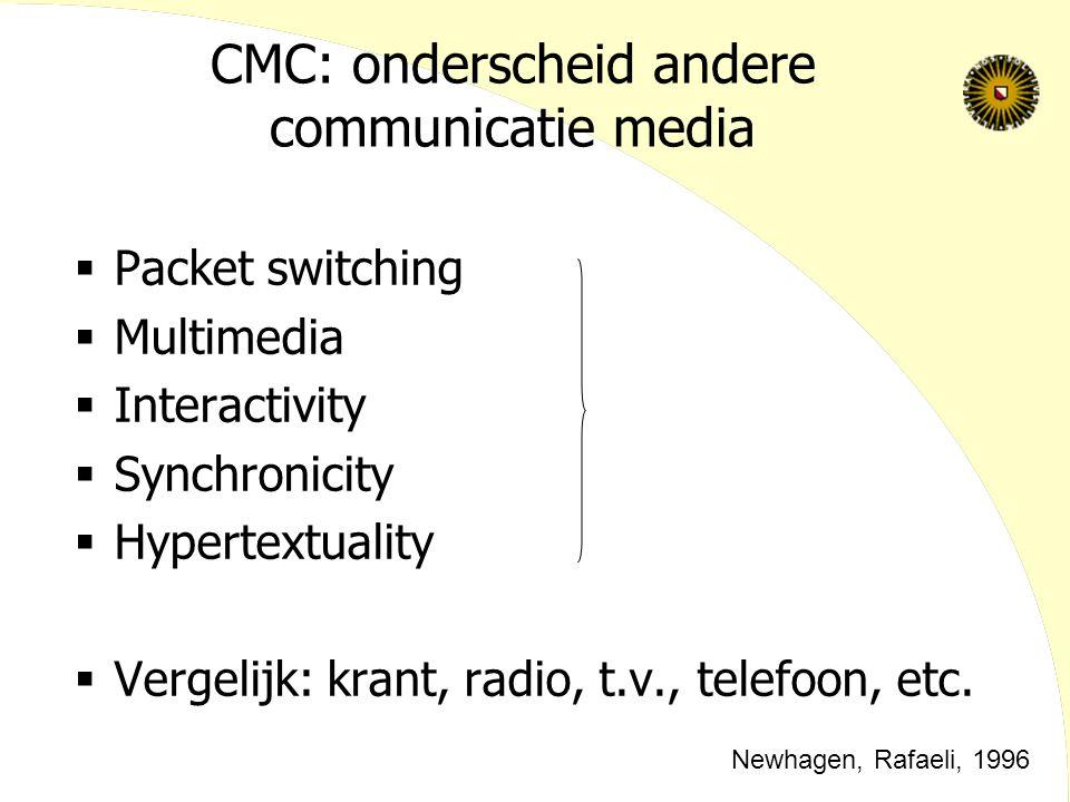 CMC: onderscheid andere communicatie media  Packet switching  Multimedia  Interactivity  Synchronicity  Hypertextuality  Vergelijk: krant, radio