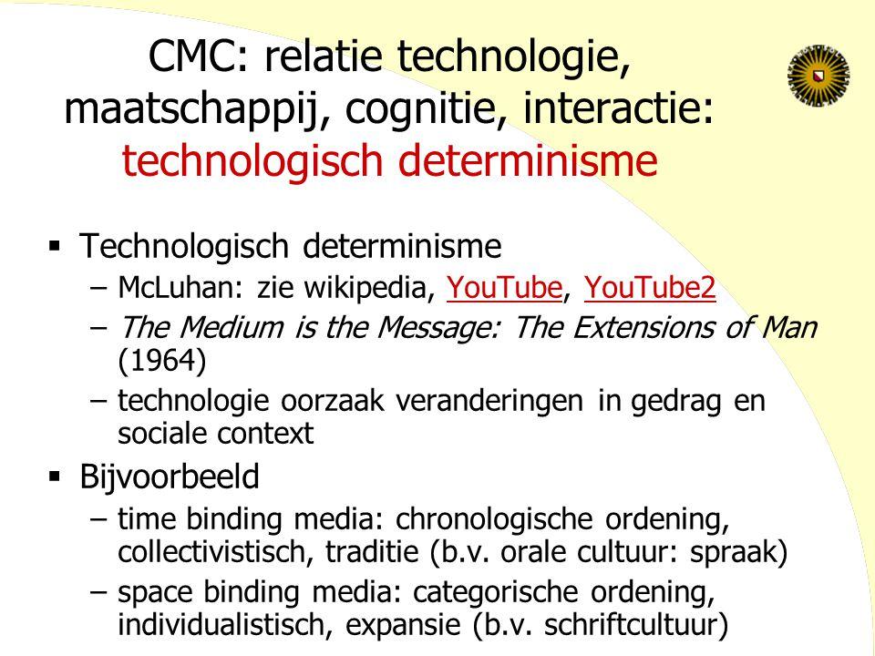 CMC: relatie technologie, maatschappij, cognitie, interactie: technologisch determinisme  Technologisch determinisme –McLuhan: zie wikipedia, YouTube