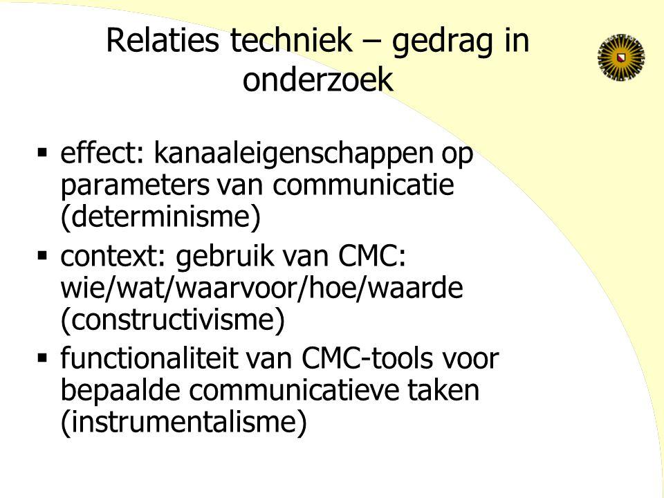 Relaties techniek – gedrag in onderzoek  effect: kanaaleigenschappen op parameters van communicatie (determinisme)  context: gebruik van CMC: wie/wat/waarvoor/hoe/waarde (constructivisme)  functionaliteit van CMC-tools voor bepaalde communicatieve taken (instrumentalisme)