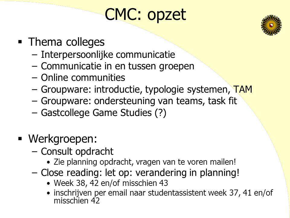 CMC: opzet  Thema colleges –Interpersoonlijke communicatie –Communicatie in en tussen groepen –Online communities –Groupware: introductie, typologie