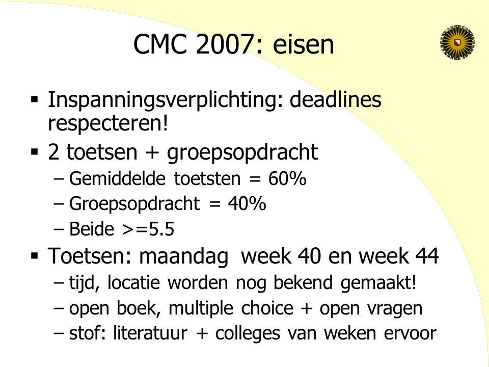 CMC 2007: eisen  Inspanningsverplichting: deadlines respecteren.