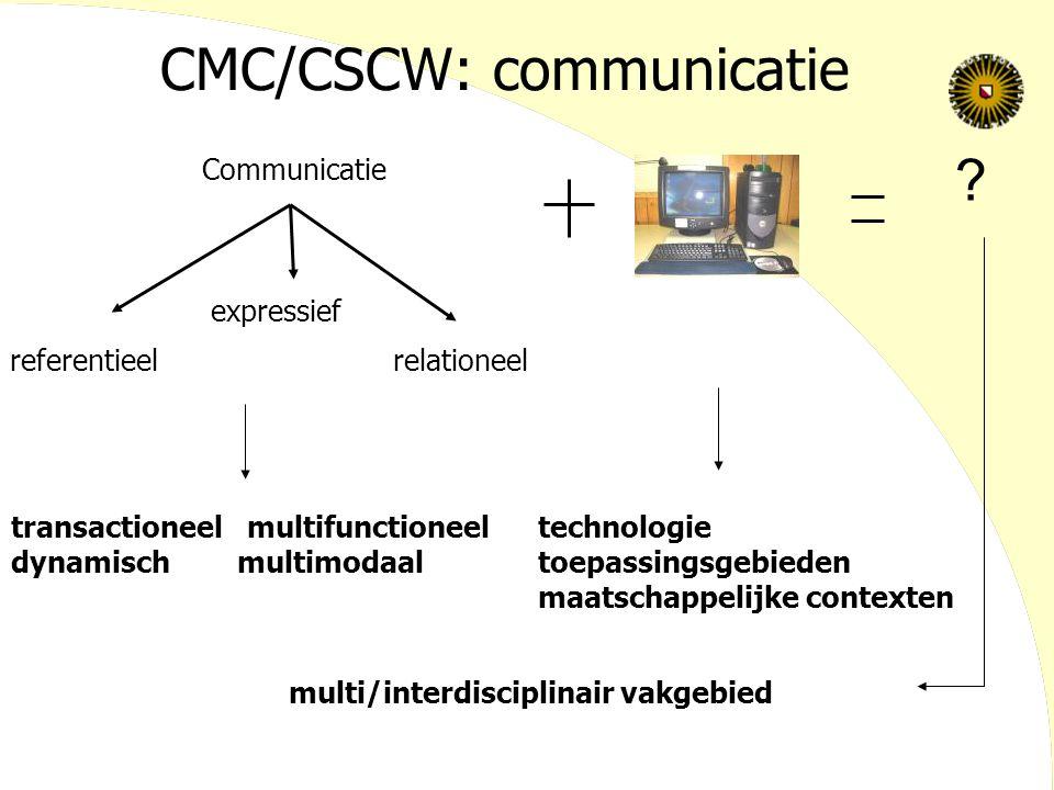 CMC/CSCW: communicatie transactioneel multifunctioneel dynamisch multimodaal Communicatie referentieel expressief relationeel ? technologie toepassing