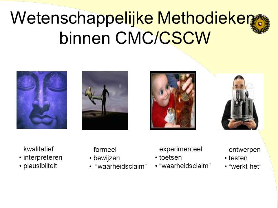 Wetenschappelijke Methodieken binnen CMC/CSCW kwalitatief interpreteren plausibilteit formeel bewijzen waarheidsclaim experimenteel toetsen waarheidsclaim ontwerpen testen werkt het