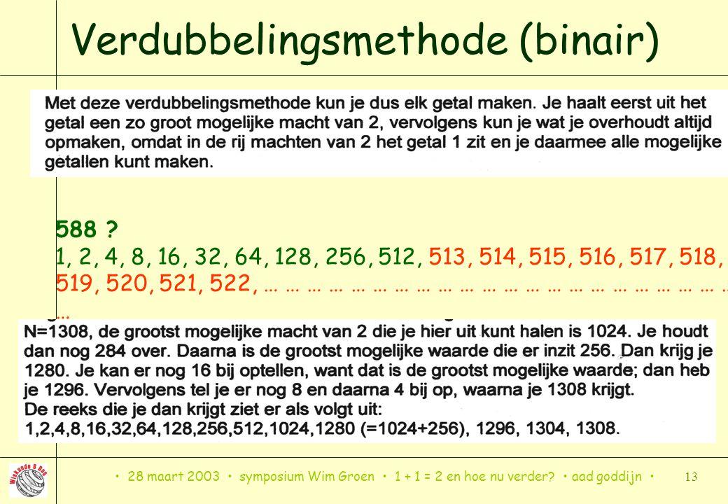 28 maart 2003 symposium Wim Groen 1 + 1 = 2 en hoe nu verder? aad goddijn 13 Verdubbelingsmethode (binair) Verdubbel zo lang het gaat, vul dan met lag