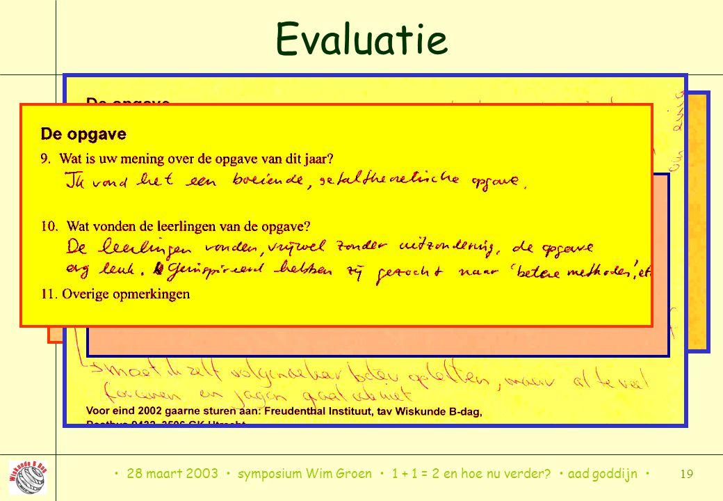 28 maart 2003 symposium Wim Groen 1 + 1 = 2 en hoe nu verder? aad goddijn 19 Evaluatie
