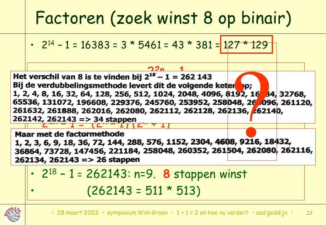 28 maart 2003 symposium Wim Groen 1 + 1 = 2 en hoe nu verder? aad goddijn 23 Factoren (zoek winst 8 op binair) 2 14 – 1 = 16383 = 3 * 5461 = 43 * 381
