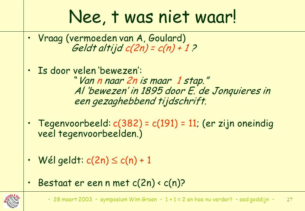 28 maart 2003 symposium Wim Groen 1 + 1 = 2 en hoe nu verder? aad goddijn 27 Nee, t was niet waar! Vraag (vermoeden van A, Goulard) Geldt altijd c(2n)