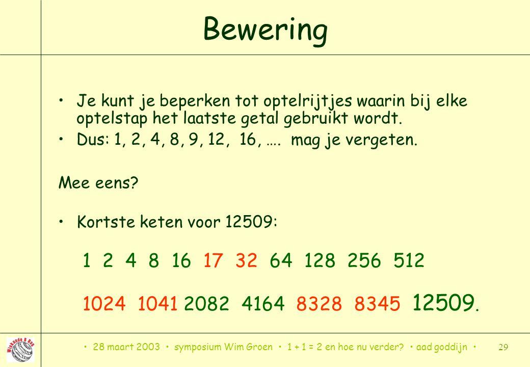 28 maart 2003 symposium Wim Groen 1 + 1 = 2 en hoe nu verder? aad goddijn 29 Bewering Je kunt je beperken tot optelrijtjes waarin bij elke optelstap h