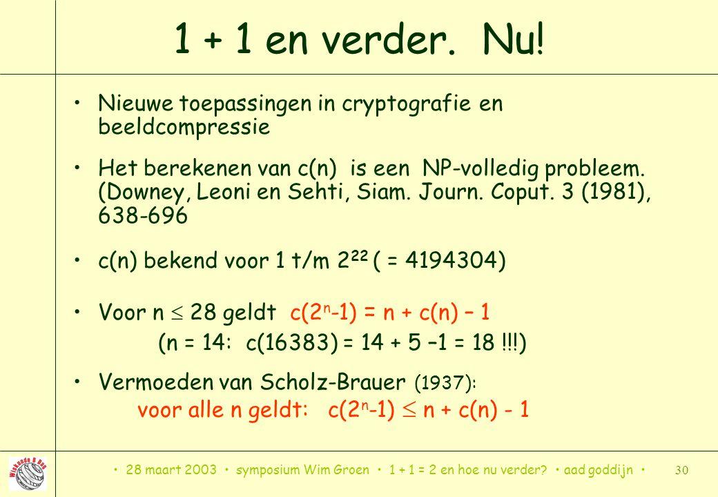 28 maart 2003 symposium Wim Groen 1 + 1 = 2 en hoe nu verder? aad goddijn 30 1 + 1 en verder. Nu! Nieuwe toepassingen in cryptografie en beeldcompress