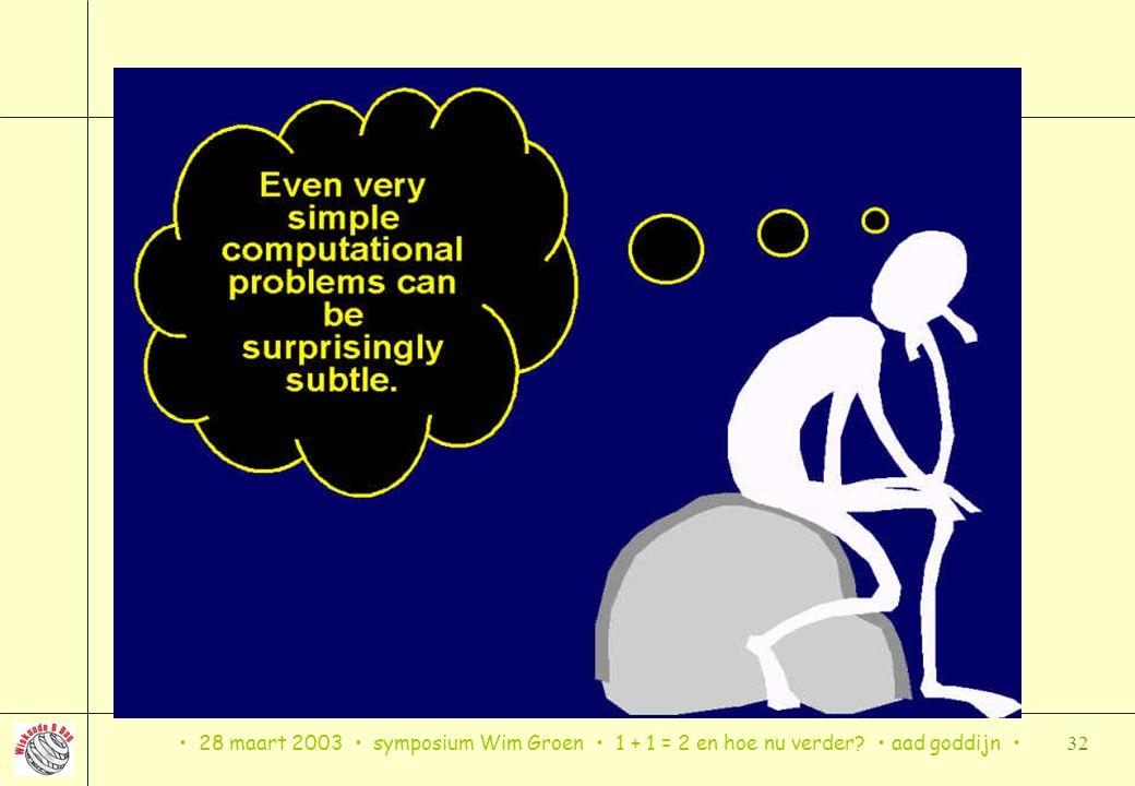 28 maart 2003 symposium Wim Groen 1 + 1 = 2 en hoe nu verder? aad goddijn 32