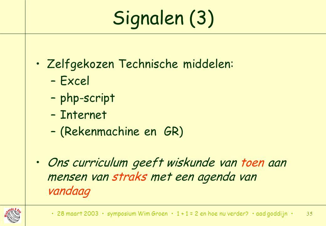 28 maart 2003 symposium Wim Groen 1 + 1 = 2 en hoe nu verder? aad goddijn 35 Signalen (3) Zelfgekozen Technische middelen: –Excel –php-script –Interne