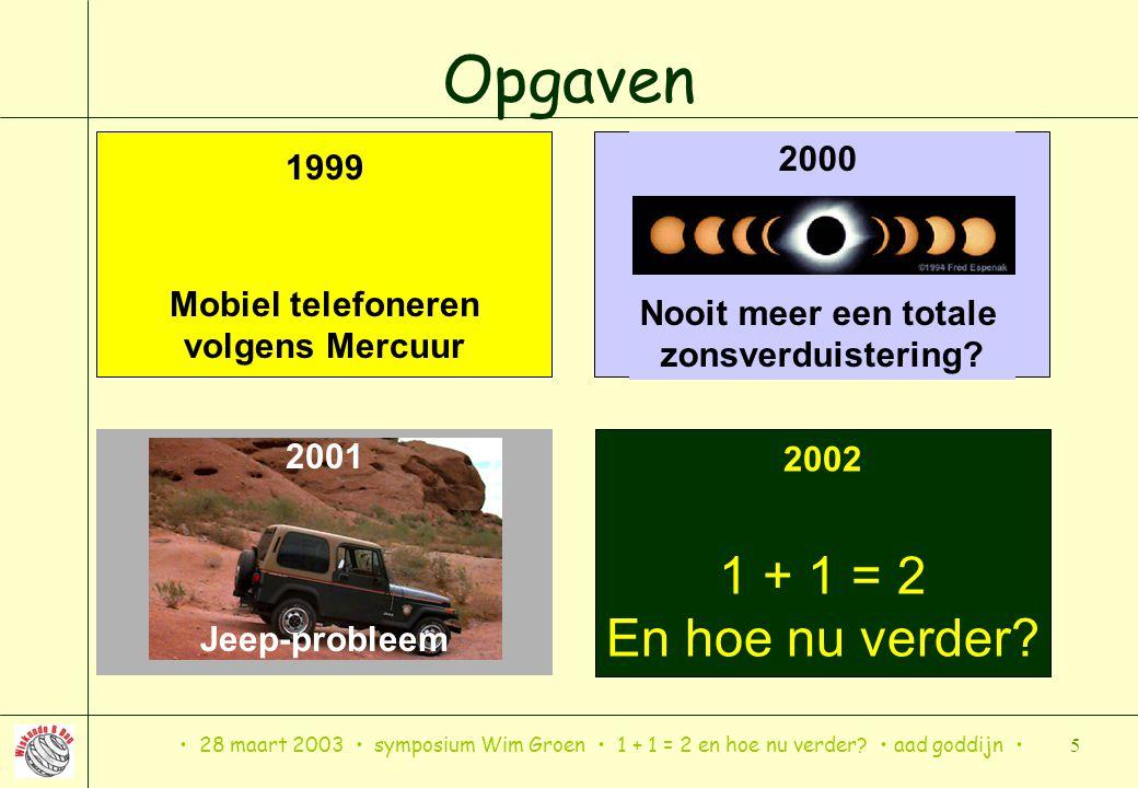 28 maart 2003 symposium Wim Groen 1 + 1 = 2 en hoe nu verder? aad goddijn 5 Opgaven 1999 Mobiel telefoneren volgens Mercuur 2000 Nooit meer een totale