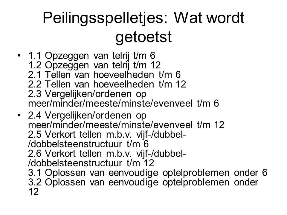 Peilingsspelletjes: Wat wordt getoetst 1.1 Opzeggen van telrij t/m 6 1.2 Opzeggen van telrij t/m 12 2.1 Tellen van hoeveelheden t/m 6 2.2 Tellen van h