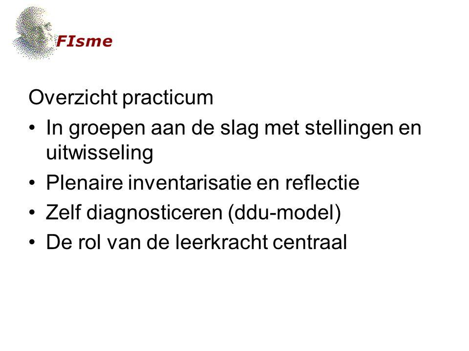 Overzicht practicum In groepen aan de slag met stellingen en uitwisseling Plenaire inventarisatie en reflectie Zelf diagnosticeren (ddu-model) De rol