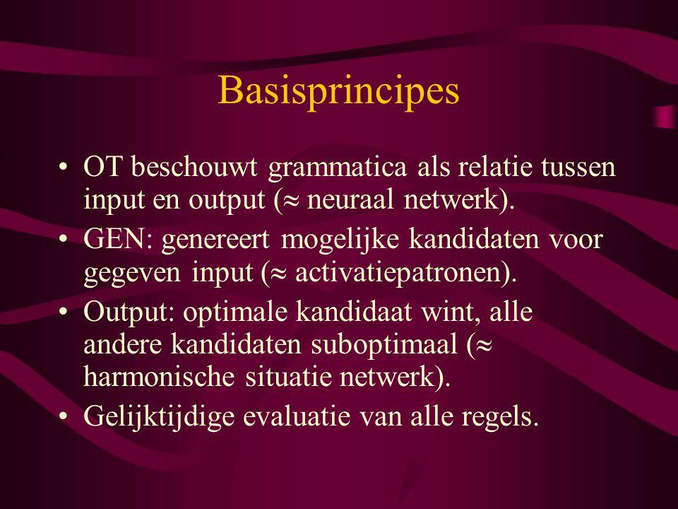 Basisprincipes OT beschouwt grammatica als relatie tussen input en output (  neuraal netwerk). GEN: genereert mogelijke kandidaten voor gegeven input