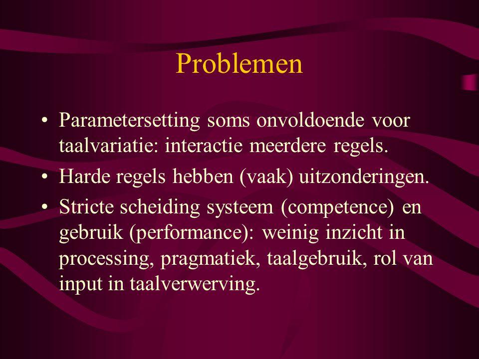 Problemen Parametersetting soms onvoldoende voor taalvariatie: interactie meerdere regels. Harde regels hebben (vaak) uitzonderingen. Stricte scheidin