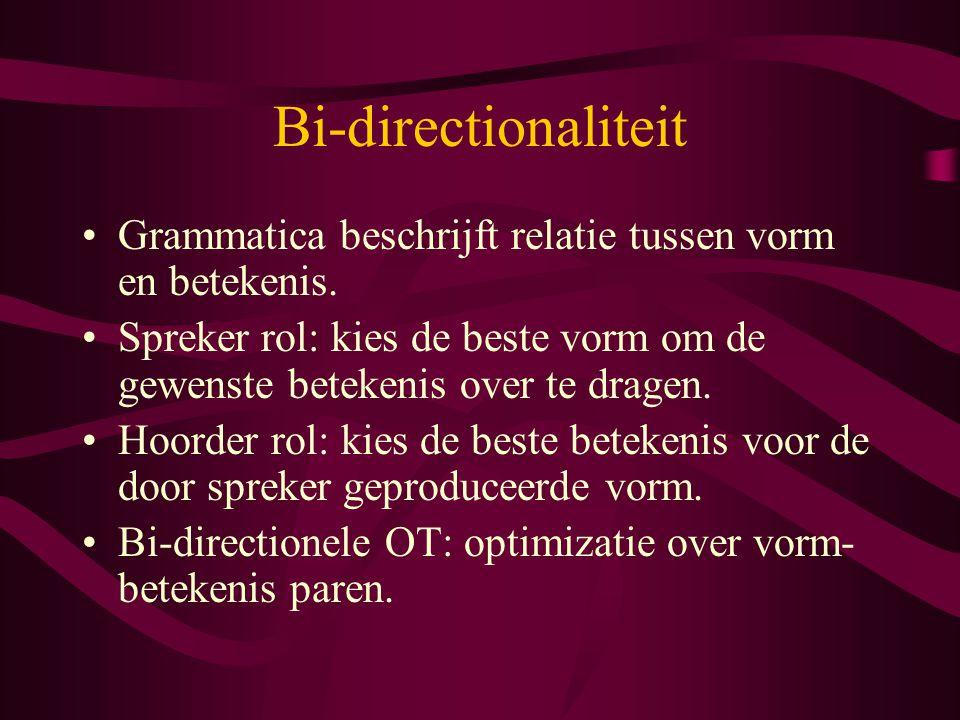 Bi-directionaliteit Grammatica beschrijft relatie tussen vorm en betekenis. Spreker rol: kies de beste vorm om de gewenste betekenis over te dragen. H