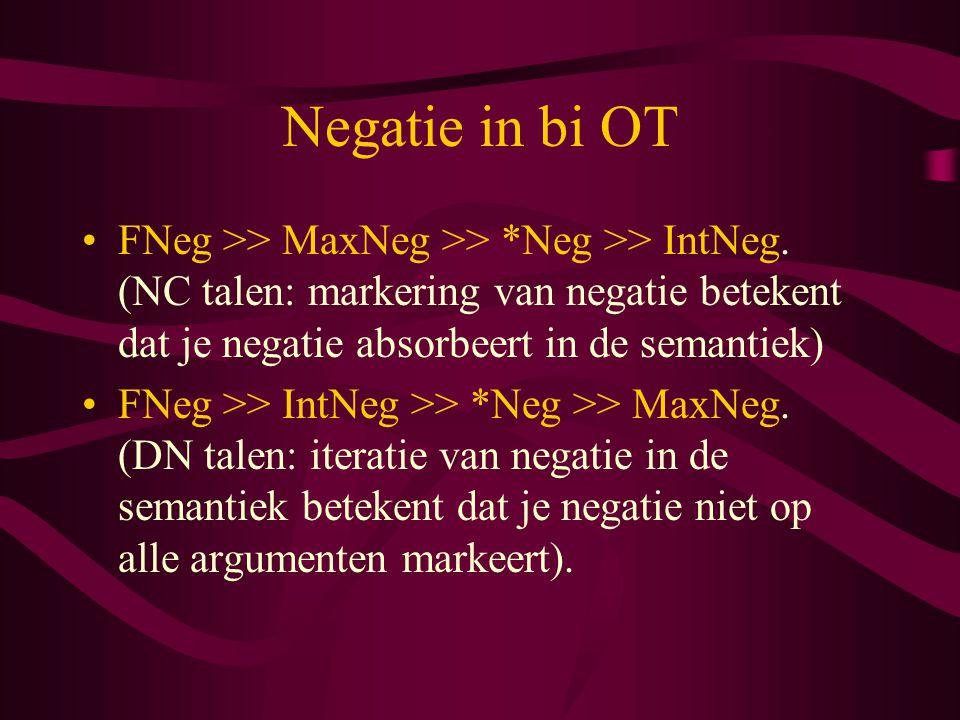 Negatie in bi OT FNeg >> MaxNeg >> *Neg >> IntNeg. (NC talen: markering van negatie betekent dat je negatie absorbeert in de semantiek) FNeg >> IntNeg