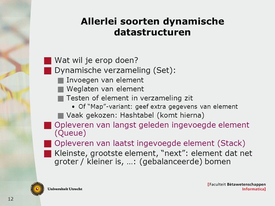 12 Allerlei soorten dynamische datastructuren  Wat wil je erop doen?  Dynamische verzameling (Set):  Invoegen van element  Weglaten van element 
