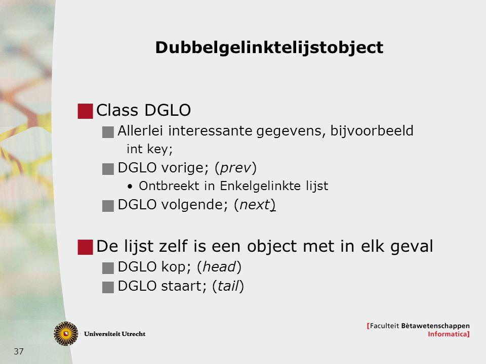 37 Dubbelgelinktelijstobject  Class DGLO  Allerlei interessante gegevens, bijvoorbeeld int key;  DGLO vorige; (prev) Ontbreekt in Enkelgelinkte lijst  DGLO volgende; (next)  De lijst zelf is een object met in elk geval  DGLO kop; (head)  DGLO staart; (tail)