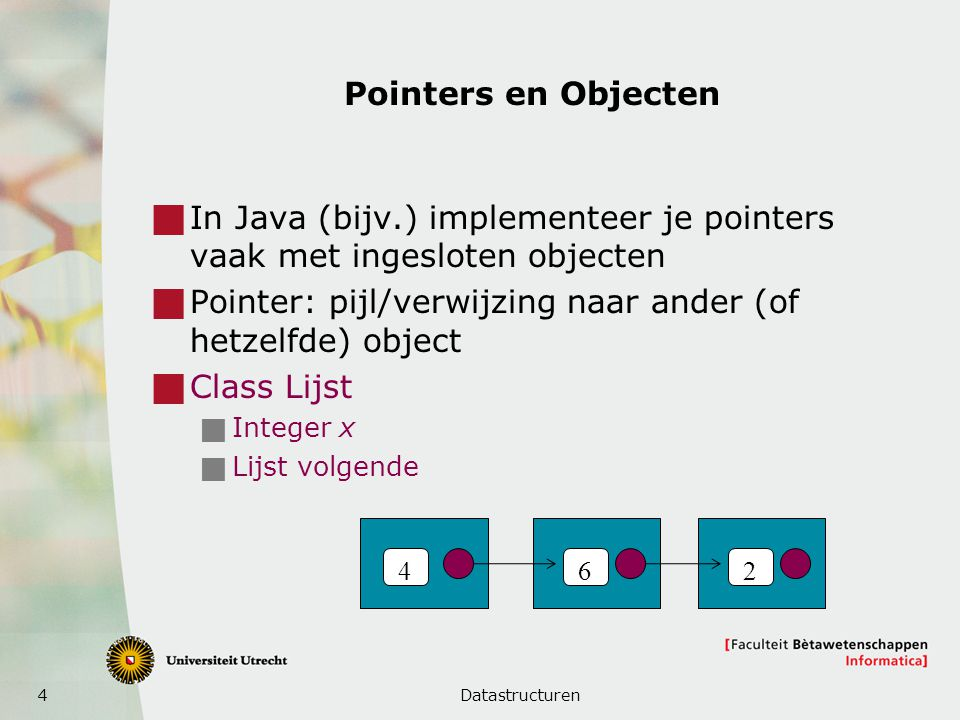 4 Pointers en Objecten  In Java (bijv.) implementeer je pointers vaak met ingesloten objecten  Pointer: pijl/verwijzing naar ander (of hetzelfde) object  Class Lijst  Integer x  Lijst volgende Datastructuren 462