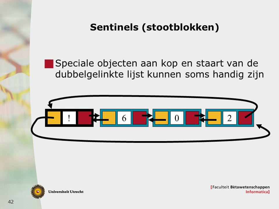42 Sentinels (stootblokken)  Speciale objecten aan kop en staart van de dubbelgelinkte lijst kunnen soms handig zijn 602!