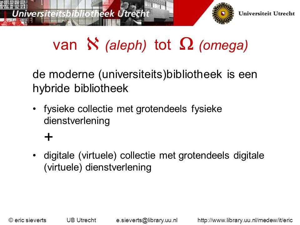 van  (aleph) tot  (omega) de moderne (universiteits)bibliotheek is een hybride bibliotheek fysieke collectie met grotendeels fysieke dienstverlening