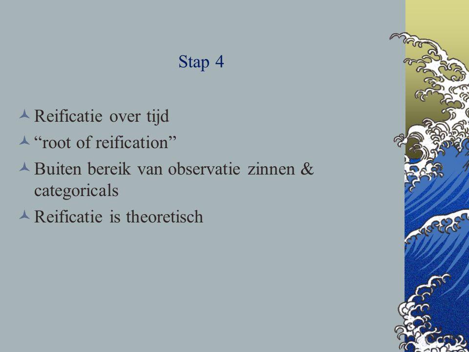 """Stap 4 Reificatie over tijd """"root of reification"""" Buiten bereik van observatie zinnen & categoricals Reificatie is theoretisch"""