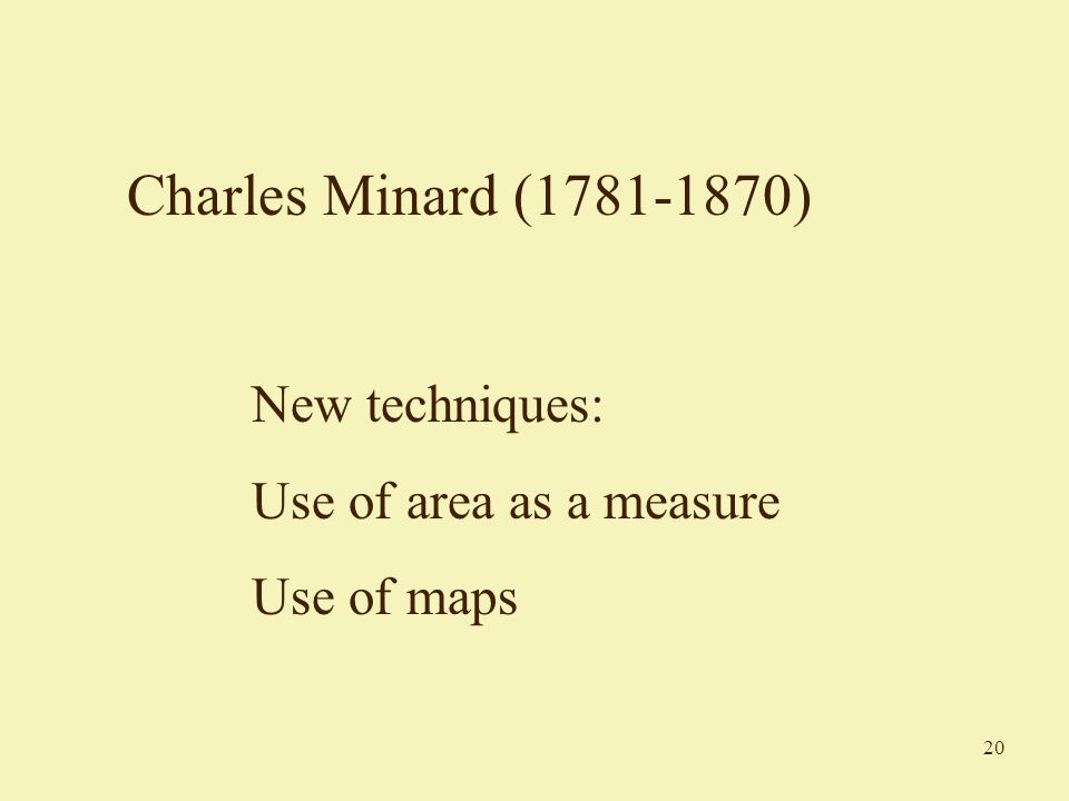 20 Charles Minard (1781-1870) New techniques: Use of area as a measure Use of maps
