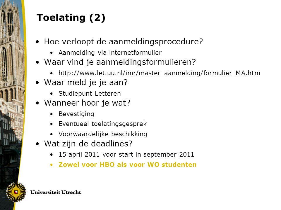 Toelating (2) Hoe verloopt de aanmeldingsprocedure.
