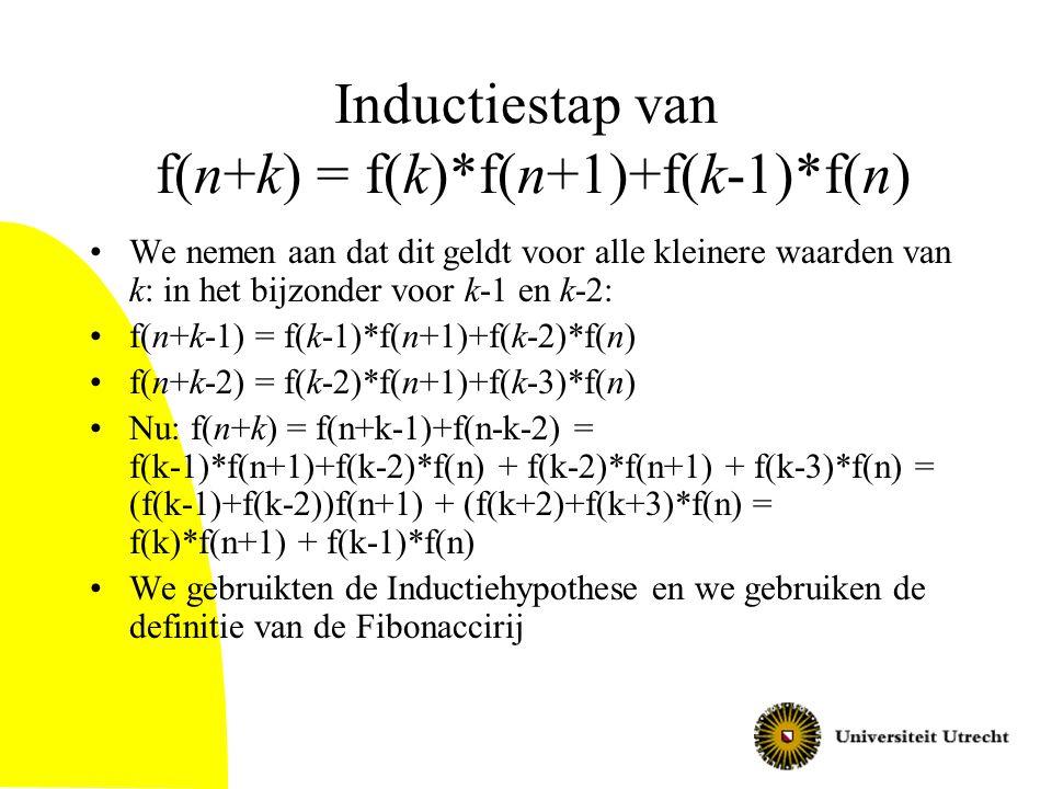 Inductiestap van f(n+k) = f(k)*f(n+1)+f(k-1)*f(n) We nemen aan dat dit geldt voor alle kleinere waarden van k: in het bijzonder voor k-1 en k-2: f(n+k