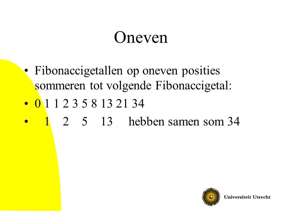 Oneven Fibonaccigetallen op oneven posities sommeren tot volgende Fibonaccigetal: 0 1 1 2 3 5 8 13 21 34 1 2 5 13 hebben samen som 34