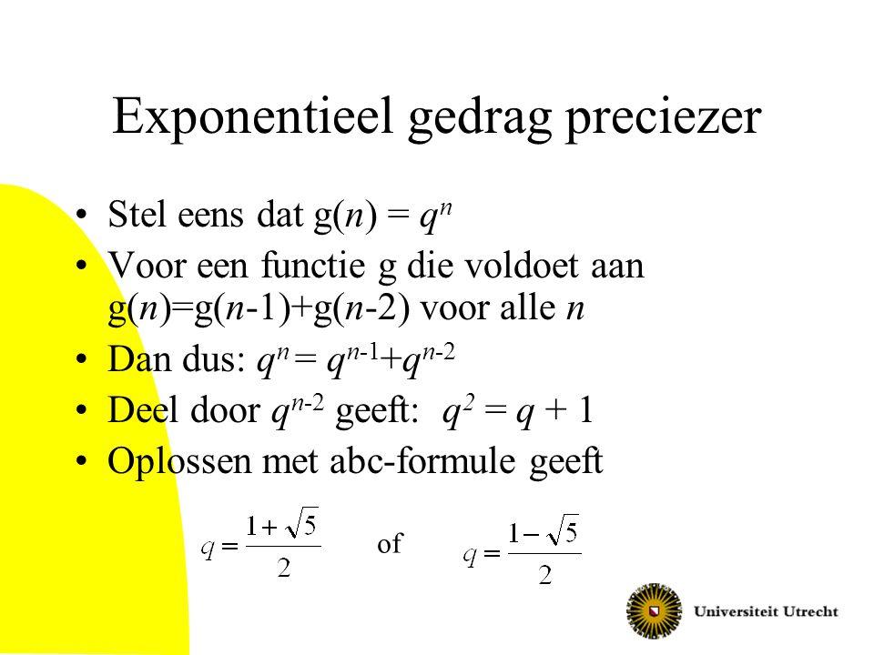 Exponentieel gedrag preciezer Stel eens dat g(n) = q n Voor een functie g die voldoet aan g(n)=g(n-1)+g(n-2) voor alle n Dan dus: q n = q n-1 +q n-2 D