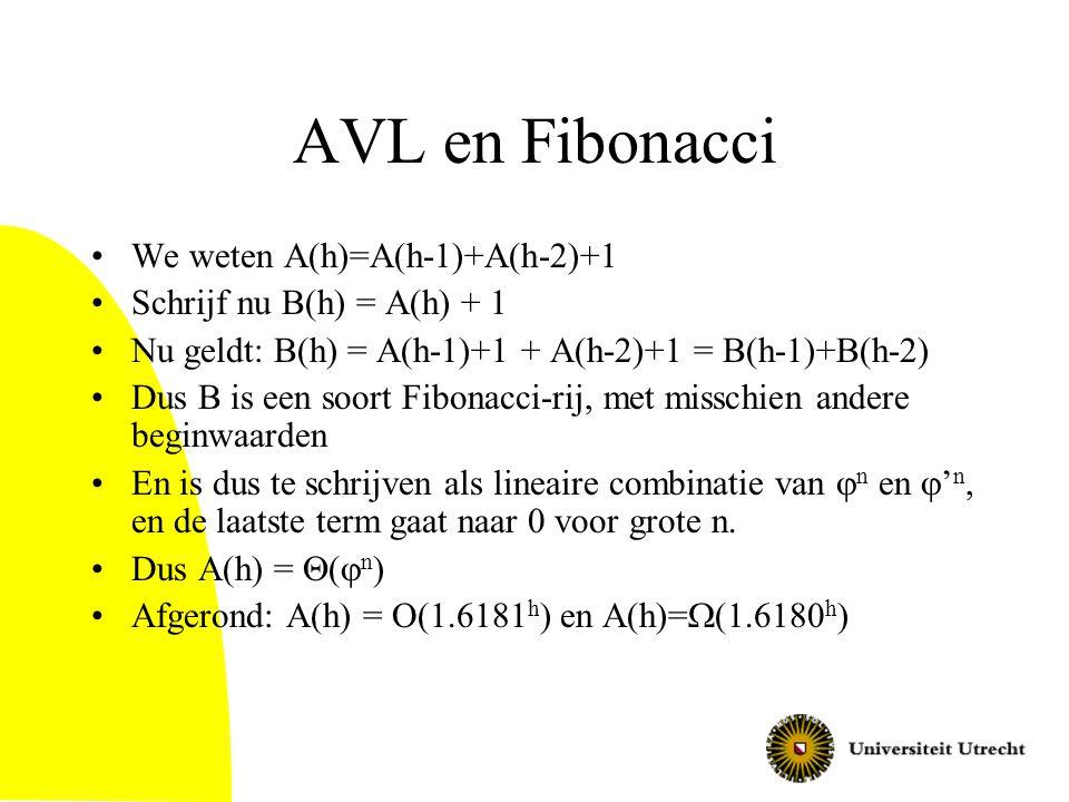 AVL en Fibonacci We weten A(h)=A(h-1)+A(h-2)+1 Schrijf nu B(h) = A(h) + 1 Nu geldt: B(h) = A(h-1)+1 + A(h-2)+1 = B(h-1)+B(h-2) Dus B is een soort Fibo