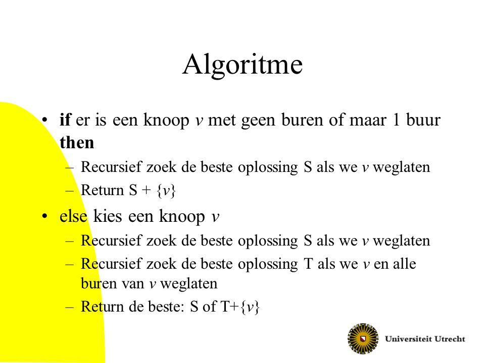 Algoritme if er is een knoop v met geen buren of maar 1 buur then –Recursief zoek de beste oplossing S als we v weglaten –Return S + {v} else kies een