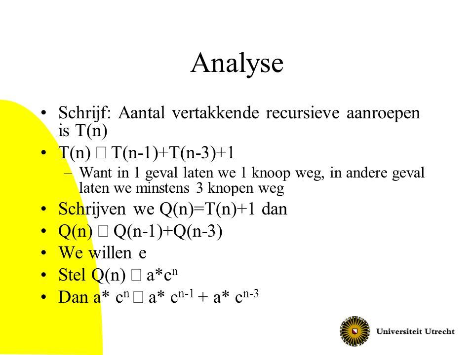 Analyse Schrijf: Aantal vertakkende recursieve aanroepen is T(n) T(n)  T(n-1)+T(n-3)+1 –Want in 1 geval laten we 1 knoop weg, in andere geval laten w
