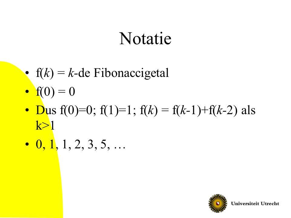 Bewijs (2): eigenschappen a-reeks a 0 = 0; a 1 > 0 (vanwege Euclides-algoritme) a 2 > 1, want delen door 1 geeft rest 0 dus a 2 = 1 geeft a 1 = 0 k> 2: a k  a k-1 + a k-2 –Omdat a k mod a k-1 = a k-2 en a k > a k-1 –Zie algoritme en manier waarop we de a-reeks maakten Met inductie naar k volgt nu: –a k  f(k) QED