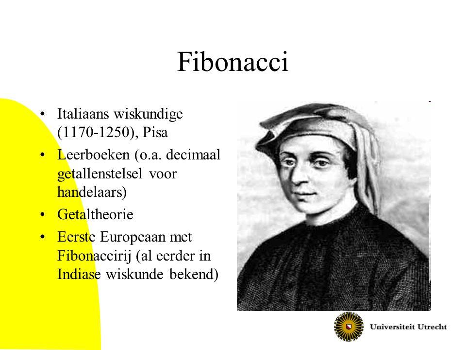 Fibonacci Italiaans wiskundige (1170-1250), Pisa Leerboeken (o.a. decimaal getallenstelsel voor handelaars) Getaltheorie Eerste Europeaan met Fibonacc