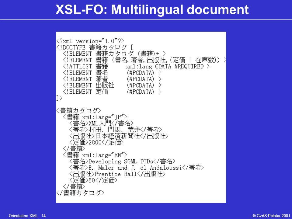 Orientation XML 14® GvdS Palstar 2001 XSL-FO: Multilingual document