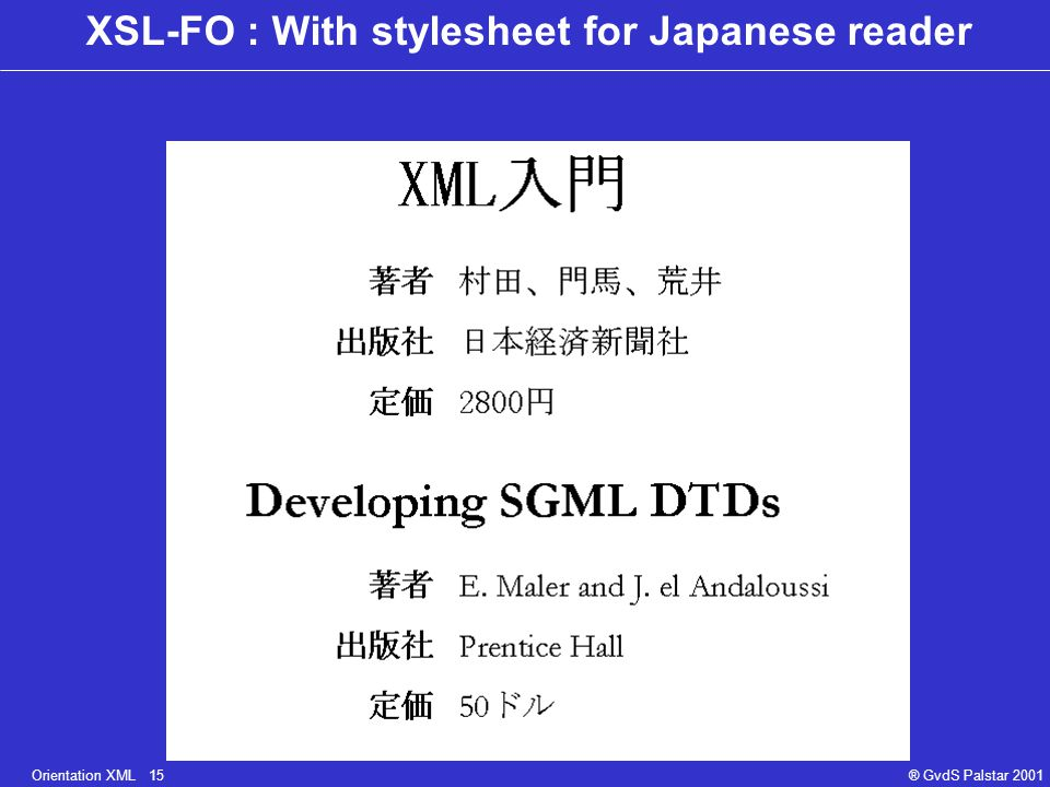 Orientation XML 15® GvdS Palstar 2001 XSL-FO : With stylesheet for Japanese reader
