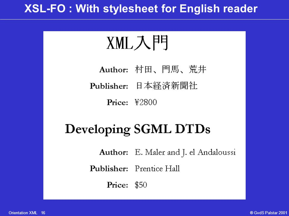 Orientation XML 16® GvdS Palstar 2001 XSL-FO : With stylesheet for English reader