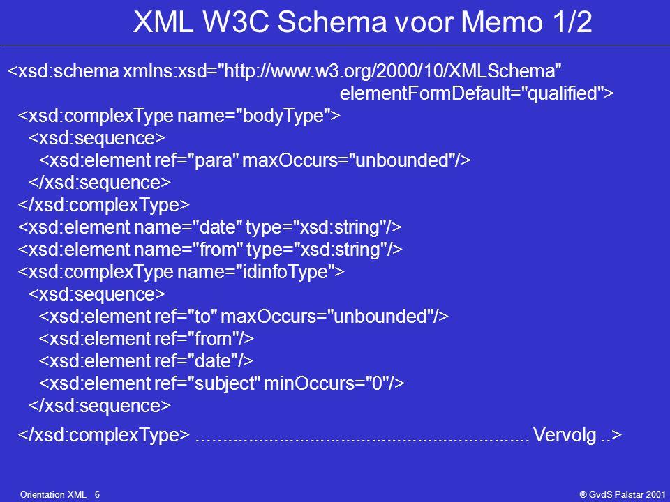 Orientation XML 6® GvdS Palstar 2001 XML W3C Schema voor Memo 1/2 <xsd:schema xmlns:xsd= http://www.w3.org/2000/10/XMLSchema elementFormDefault= qualified >.................................................................