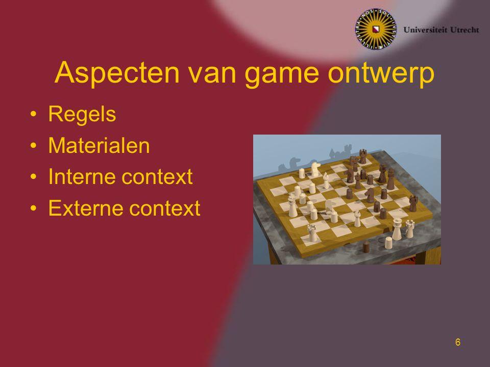 6 Aspecten van game ontwerp Regels Materialen Interne context Externe context