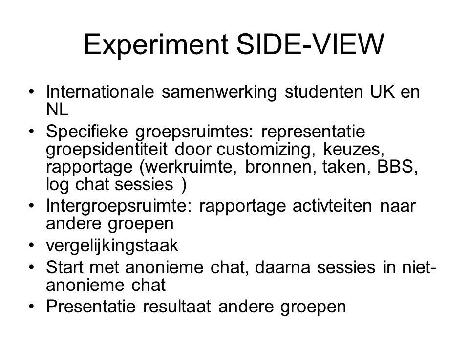 Experiment SIDE-VIEW Internationale samenwerking studenten UK en NL Specifieke groepsruimtes: representatie groepsidentiteit door customizing, keuzes,