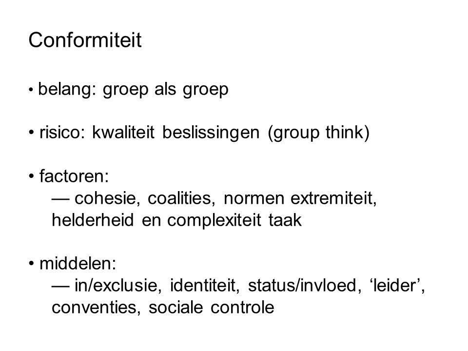 Conformiteit belang: groep als groep risico: kwaliteit beslissingen (group think) factoren: — cohesie, coalities, normen extremiteit, helderheid en co