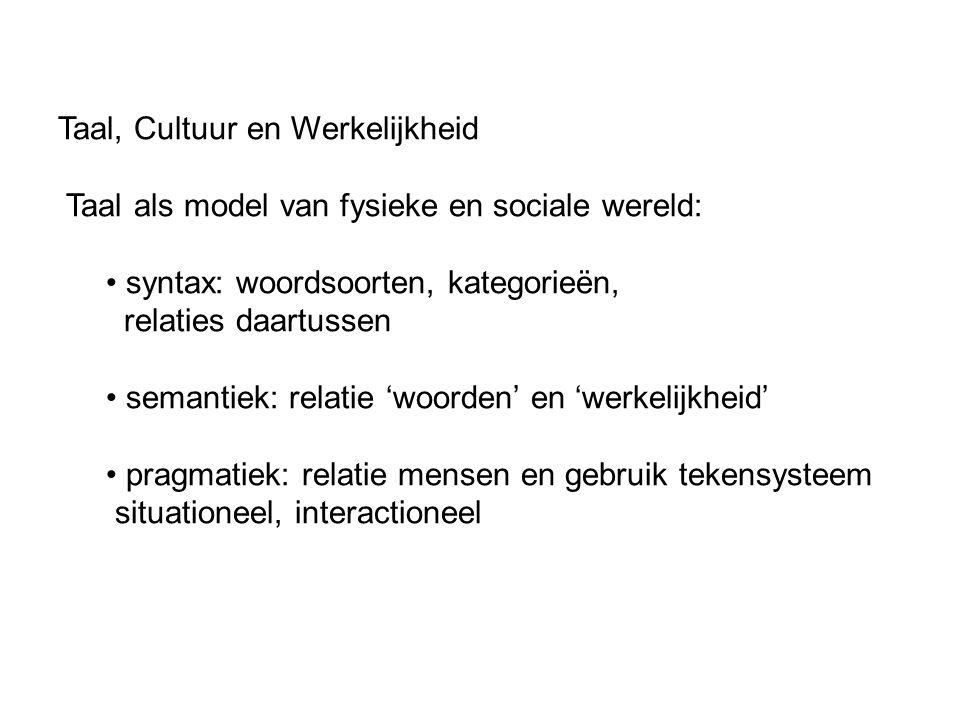 Taal, Cultuur en Werkelijkheid Taal als model van fysieke en sociale wereld: syntax: woordsoorten, kategorieën, relaties daartussen semantiek: relatie