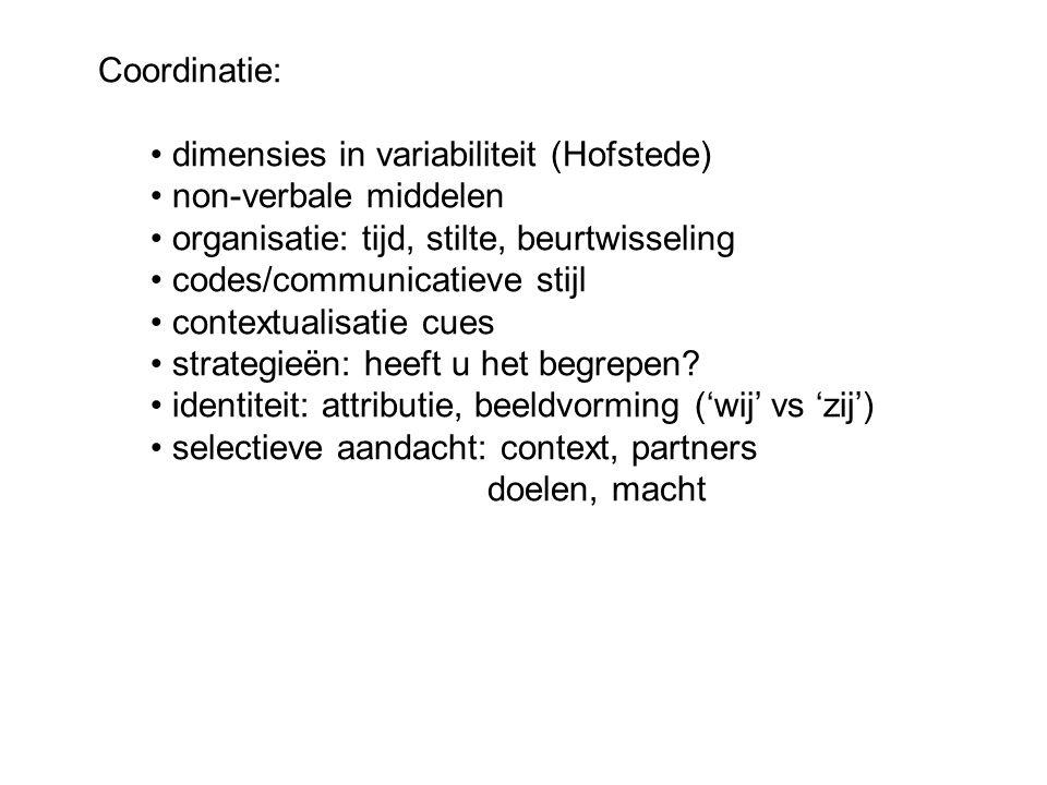 Coordinatie: dimensies in variabiliteit (Hofstede) non-verbale middelen organisatie: tijd, stilte, beurtwisseling codes/communicatieve stijl contextua