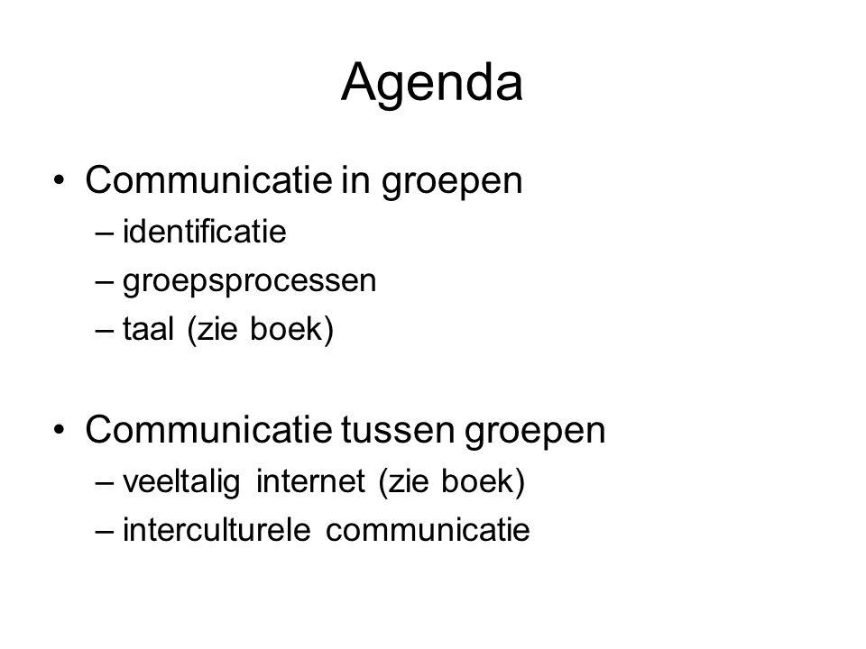 Agenda Communicatie in groepen –identificatie –groepsprocessen –taal (zie boek) Communicatie tussen groepen –veeltalig internet (zie boek) –intercultu